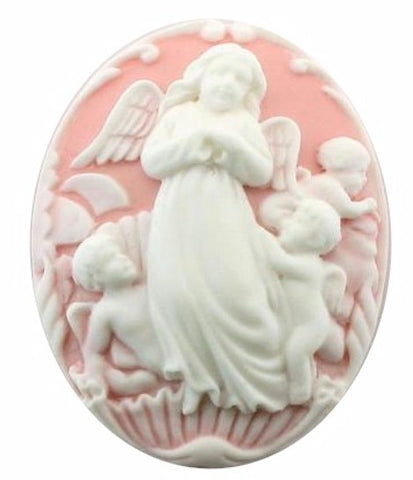 Guardian Angel Resin Cameo 40x30mm Pink White with Cherubs 101a