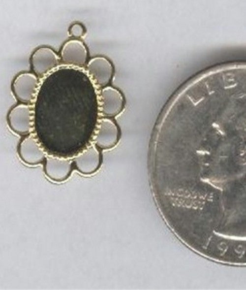 Gold 10x8mm filigree cameo cabochon setting with ring 106x