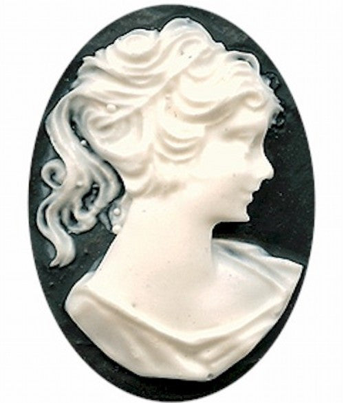 Resin Cameo 40x30mm Black and White Victorian Ponytail Woman 112A