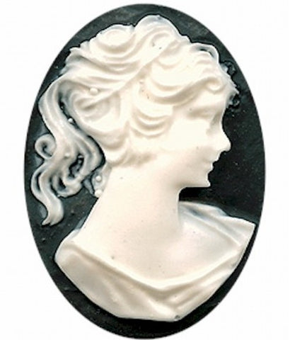 40x30mm Black and White Victorian Ponytail Woman Resin Cameo 112A