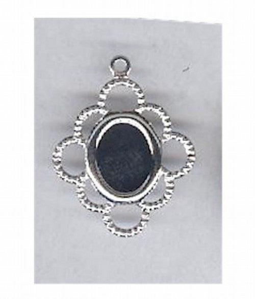 Silver 8x6mm filigree cameo setting with ring 112x