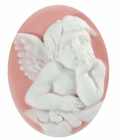 Resin Cameo 40x30mm Raphael Angel Pink and White  114A