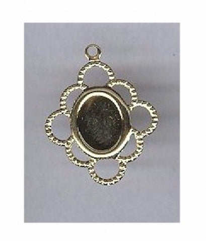 Gold 8x6mm filigree cameo setting with ring 115x