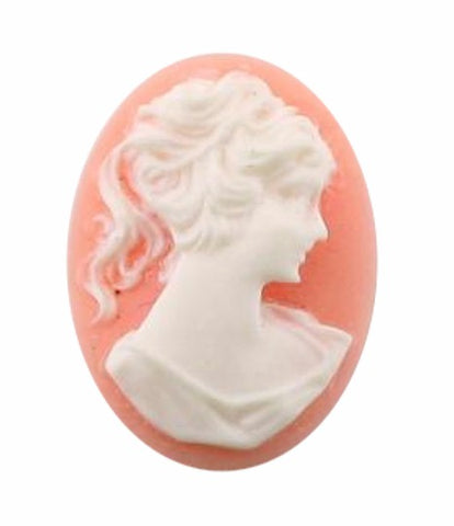Classic Resin Cameo 25x18mm Pink and White Ponytail Girl  116A