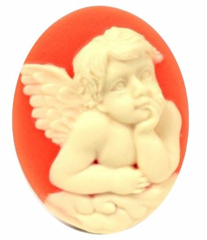 40x30mm Raphael Angel Carnelian and Ivory Resin Cameo 11c