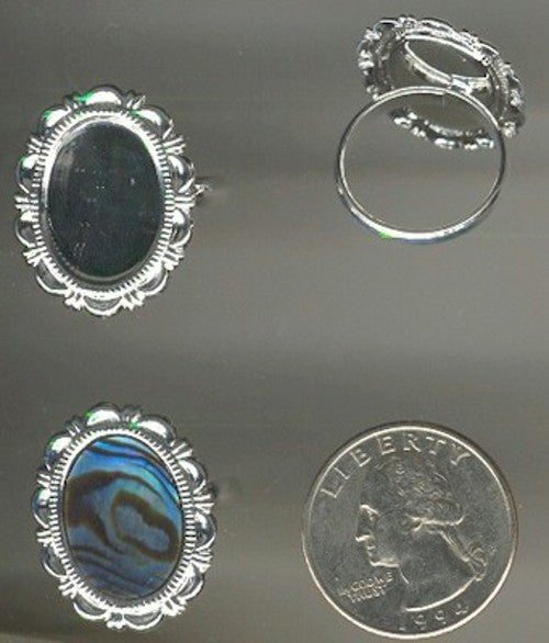 cabochon ring settings 18x13mm Silver Adjustable on sale closeout 123a