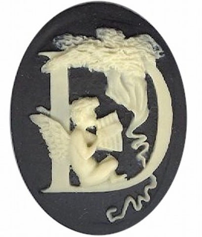 "Item#140x Acrylic 40x30 black/ivory letter ""D"" cameo"