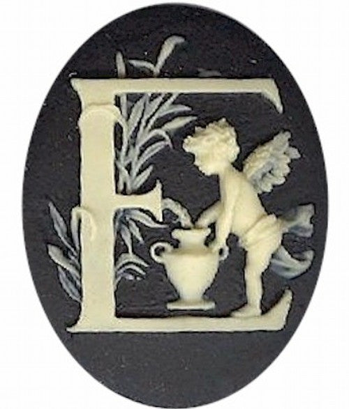 "Cameo Letter ""E"" Monogram Personalized Resin Initials 40x30mm Black  141x"