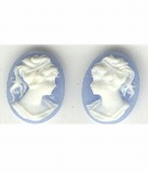 14x10mm blue and white ponytail girl matched pair resin cameos 143R