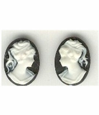 14x10mm black and lwhite ponytail girl matched pair resin cameos S2053