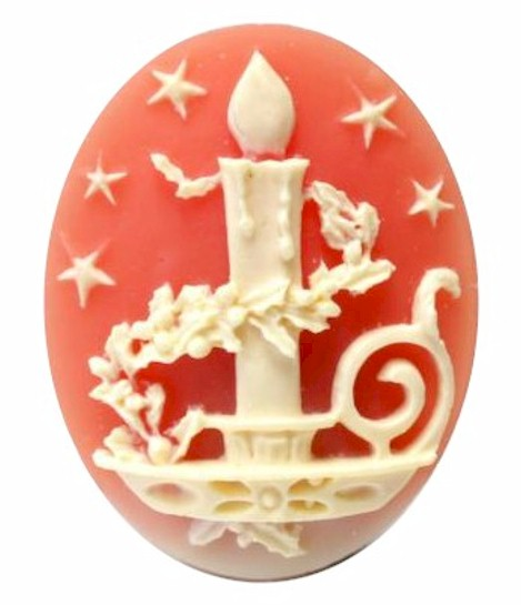 Holiday Candle Resin Cameo 40x30mm Christmas Theme Cabochon Carnelian Ivory 14c