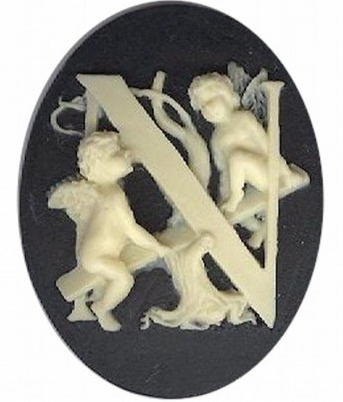 "Cameo Letter ""N"" Monogram Personalized Resin Initials 40x30mm Black  150x"