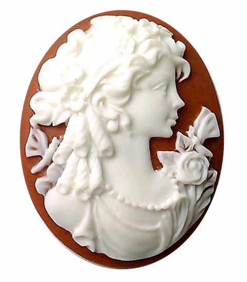 Brown and White 40x30mm Woman with a Butterfly Resin Cameo 154A