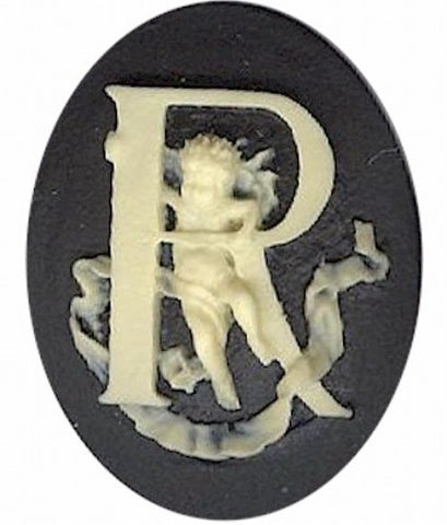 "Item#154x Acrylic 40x30 black/ivory letter ""R"" cameo"