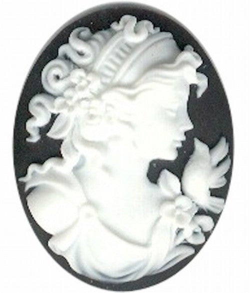 Black and White 40x30mm Woman with Bird Resin Cameo 155A