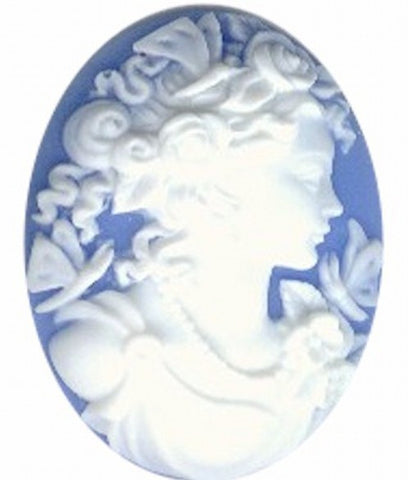 Blue and White 40x30mm Woman with Butterflies Resin Cameo 156a