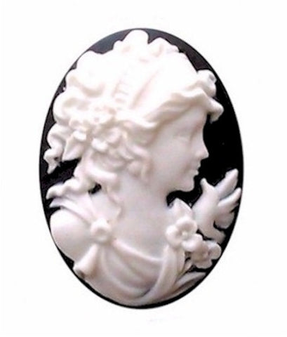 25x18mm Woman with Bird Black White Resin Cameo 158A