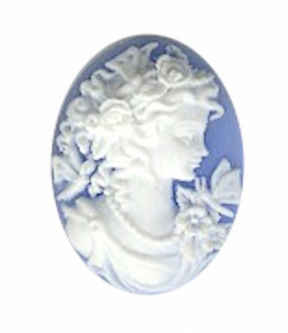 25x18mm Blue and White Woman with Butterfly Resin Cameo 164A