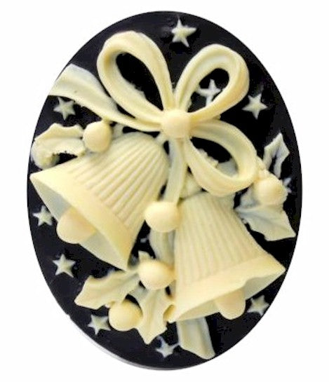 Christmas Bells Resin Cameo 40x30mm Black Ivory Holiday Theme Cabochon 16c