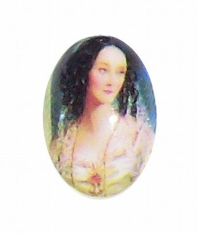18x13mm Glass Cameo of  victorian lady with curls 189x