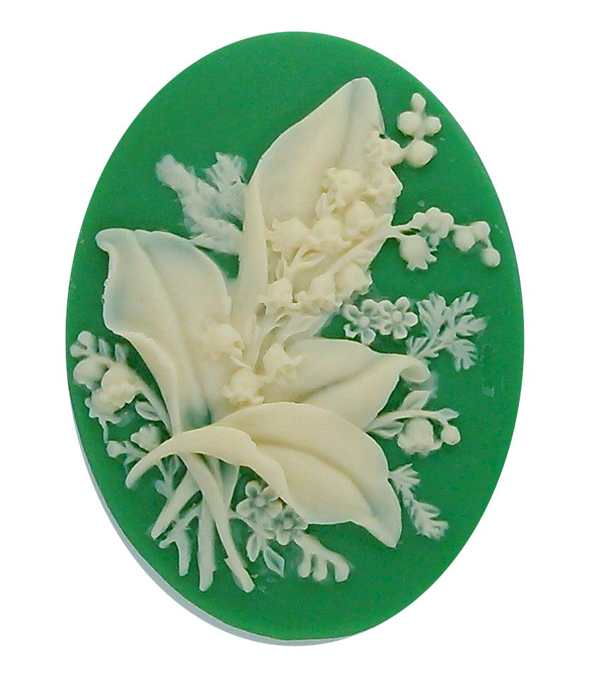 40x30mm lily of the Valley Flower Bouquet Green Garden Resin Cameo 18c
