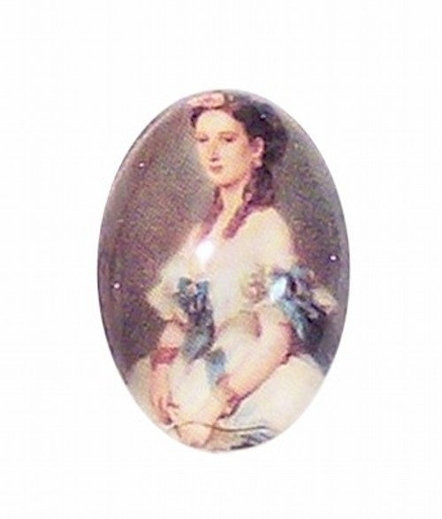 18x13mm Glass Cameo of  victorian lady 190x