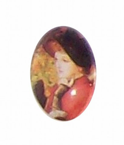 18x13mm Glass Cameo of victorian lady in red 191x