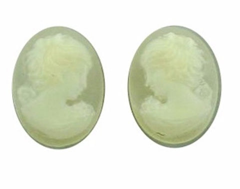 14x10mm Crystal Cameo Pair Lady with Short Hair Resin Cameo 22c