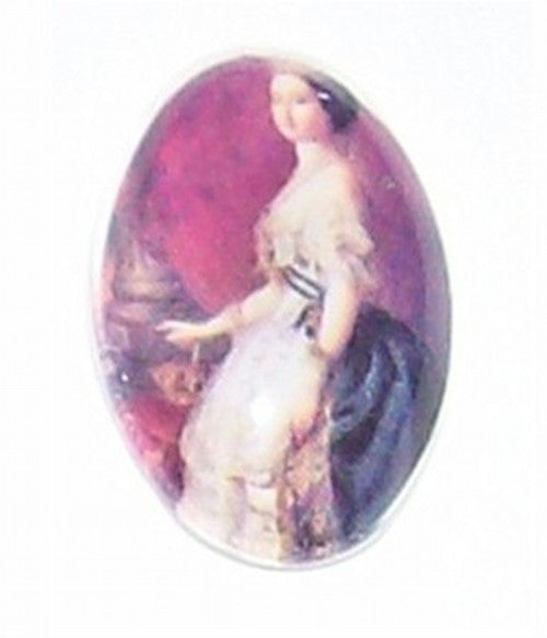 18x13mm Glass Cameo Lady with crown 242x