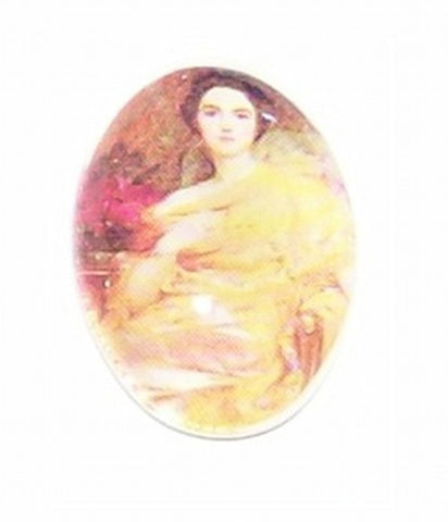 18x13mm Glass Cameo Lady with yellow dress 243x