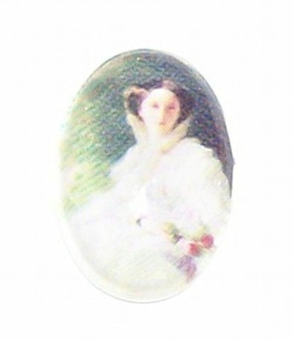 18x13mm Glass Cameo Lady in White Cabochon 244x