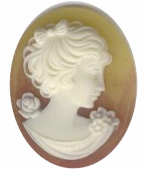 Amber and Ivory 40x30mm Woman with bow and Short Hair Resin Cameo 253q