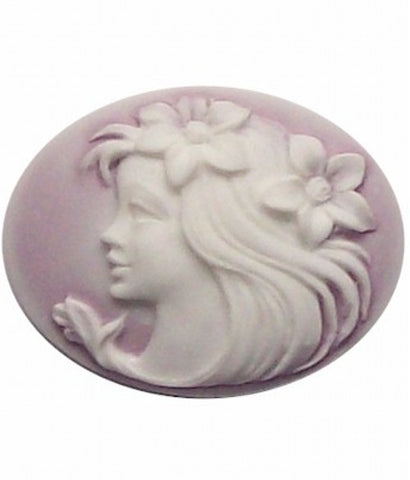 40x30mm horizontal Lilac and White Lady with Flowers Resin Cameo 254x