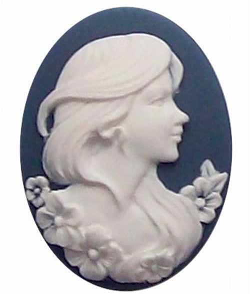 40x30mm Blue and White Lady Profile Resin Cameo cabochon 255x
