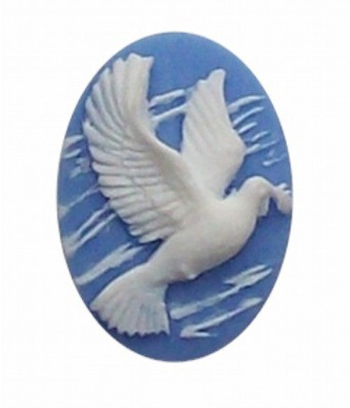 25x18mm Blue and white Dove with Olive Branch 258x