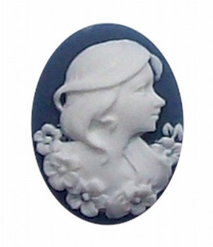 25x18mm Blue and White Lady  Resin Cameo 259x