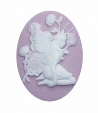 25x18mm Lilac and White Fairy Resin Cameo 260x