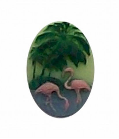 18x13mm Tricolor Flamingo Resin Cameo 262x