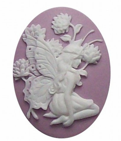 40x30mm Lilac and White Fairy Resin Cameo 265x