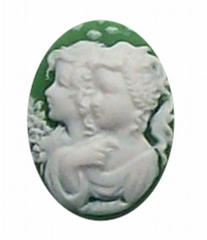25x18mm Green and White Twins Resin Cameo 267x