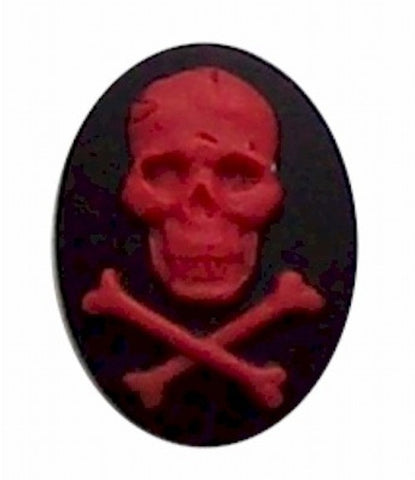 25x18mm Black Red Skeleton Skull and Cross Bones Resin Cameo 270x