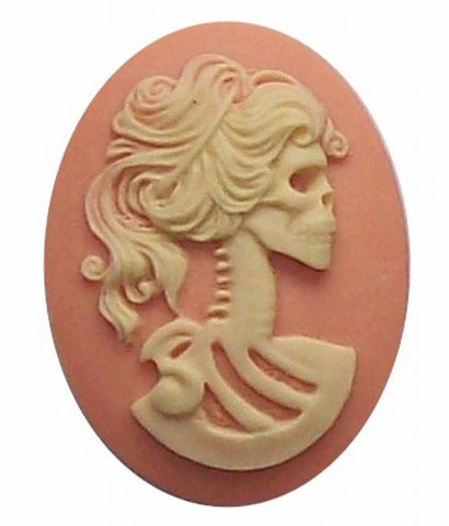 40x30mm Pink and Ivory Skull Lolita Skeleton Resin Cameo 271x