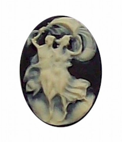 25x18mm Black and Ivory Dancing Couple Resin Cameo 272x