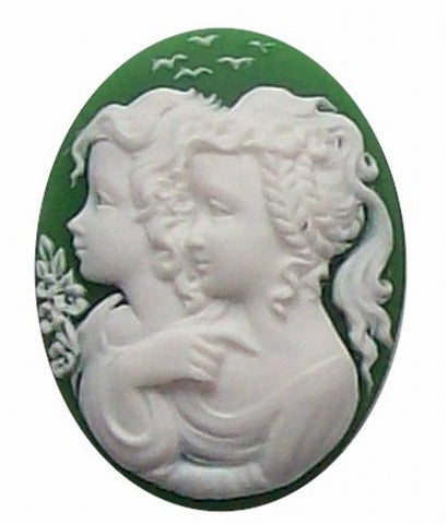 40x30mm Green and White Twins Resin Cameo 274x