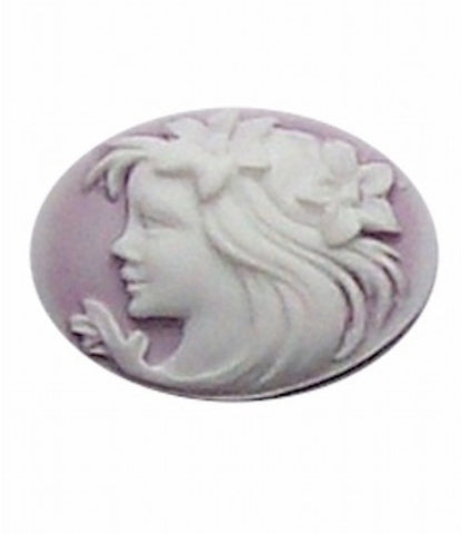 25x18mm Lilac Lady with Flowers Resin Cameo