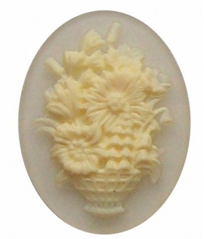 40x30mm Crystal Flower Basket Resin Cameo 276x