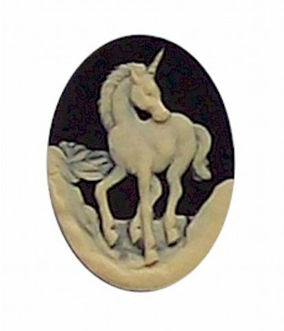 25x18mm Black and Ivory Unicorn Resin Cameo 277x