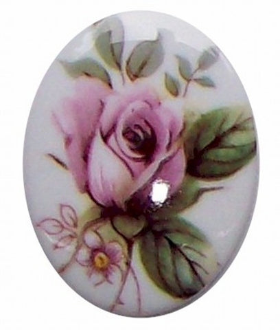 40x30mm Plastic Decal Pink Rose Cameo 279x
