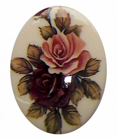 40x30mm Plastic Decal Double Rose Cameo 280x
