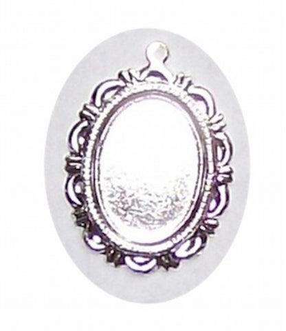 Silver 18x13mm cameo pendant setting with ring 283x